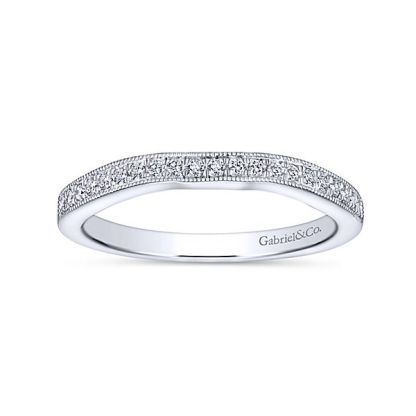 Gabriel 14k White Gold Contemporary Straight Wedding BandWB6389W44JJ 51 - 14k White Gold Straight Diamond Wedding Band