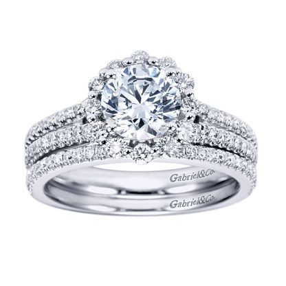 Gabriel 14k White Gold Contemporary Straight Wedding BandWB6710W44JJ 41 - 14k White Gold Straight Diamond