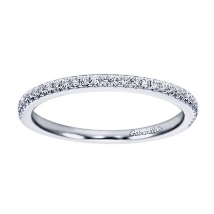 Gabriel 14k White Gold Contemporary Straight Wedding BandWB6710W44JJ 51 - 14k White Gold Straight Diamond