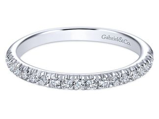 Gabriel 14k White Gold Contemporary Straight Wedding BandWB6872W44JJ 11 - 14k White Gold Round 3 Stones Halo Diamond