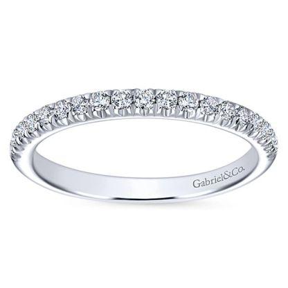 Gabriel 14k White Gold Contemporary Straight Wedding BandWB6872W44JJ 51 - 14k White Gold Round Straight Diamond