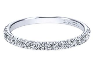 Gabriel 14k White Gold Contemporary Straight Wedding BandWB7261W44JJ 11 - 14k White Gold Round Straight Diamond