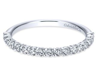 Gabriel 14k White Gold Contemporary Straight Wedding BandWB7498W44JJ 11 - 14k White Gold Round Halo Diamond