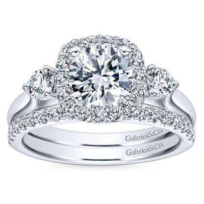 Gabriel 14k White Gold Contemporary Straight Wedding BandWB7510W44JJ 41 - 14k White Gold Round Straight Diamond