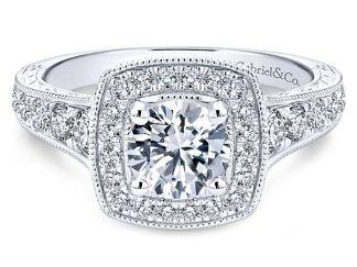 Gabriel 14k White Gold Round Halo Engagement RingER8668W44JJ 11 - Vintage 14k White Gold Round Straight Diamond