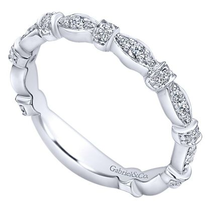 Gabriel 14k White Gold Stackable Ladies RingLR4579W45JJ 31 - 14k White Gold Stackable Diamond Ladies' Ring