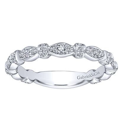 Gabriel 14k White Gold Stackable Ladies RingLR4579W45JJ 41 - 14k White Gold Stackable Diamond Ladies' Ring