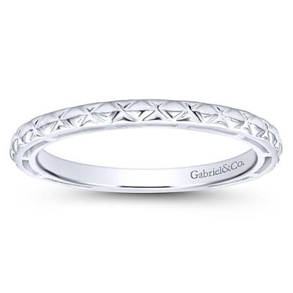 Gabriel 14k White Gold Stackable Ladies RingLR4583W4JJJ 41 - 14k White Gold Stackable Ladies Ring