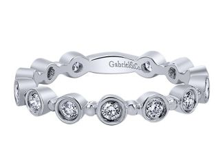 Gabriel 14k White Gold Stackable Ladies RingLR4584W44JJ 11 - 14k White Gold Stackable Diamond Ladies Ring