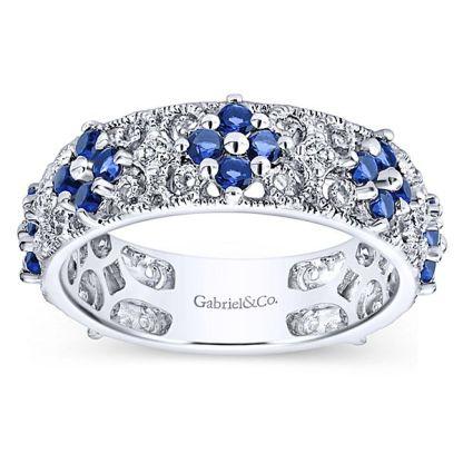 Gabriel 14k White Gold Stackable Ladies RingLR4850W45SA 41 - 14k White Gold Stackable Diamond A Quality Sapphire Ladies' Ring
