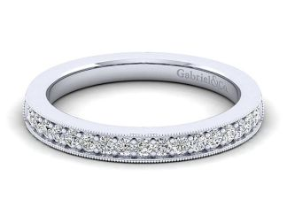 Gabriel 14k White Gold Victorian Curved Wedding BandWB3858W44JJ 11 - Vintage 14k White Gold Round Curved Diamond Wedding Band