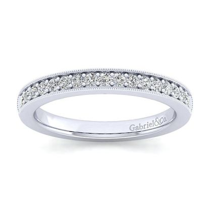 Gabriel 14k White Gold Victorian Curved Wedding BandWB3858W44JJ 51 - Vintage 14k White Gold Round Curved Diamond Wedding Band
