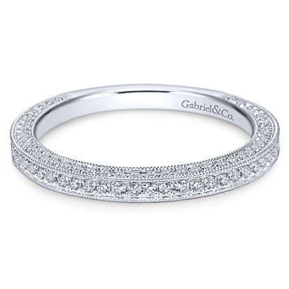 Gabriel 14k White Gold Victorian Straight Wedding BandWB7256W44JJ 11 - Vintage 14k White Gold Round Straight Diamond