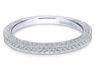 Gabriel 14k White Gold Victorian Straight Wedding BandWB7256W44JJ 11 - Vintage 14k White Gold Round Straight Diamond