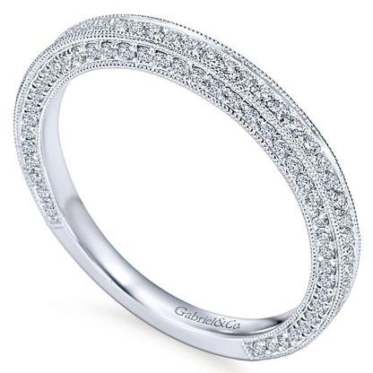 Gabriel 14k White Gold Victorian Straight Wedding BandWB7256W44JJ 31 - Vintage 14k White Gold Round Straight Diamond