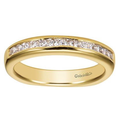 Gabriel 14k Yellow Gold Contemporary Straight Wedding BandWB3965Y44JJ 51 - 14k Yellow Gold Straight Diamond Wedding Band