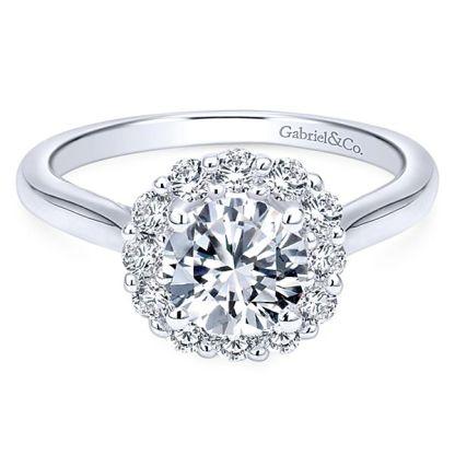 Gabriel Althea 14k White Gold Round Halo Engagement RingER7498W44JJ 11 - 14k White Gold Round Halo Diamond