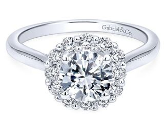 Gabriel Althea 14k White Gold Round Halo Engagement RingER7498W44JJ 11 - 14k White Gold Round Halo Diamond