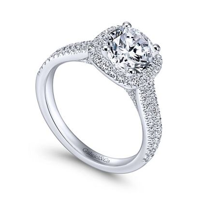 Gabriel Brianna 14k White Gold Round Halo Engagement RingER6984W44JJ 31 - 14k White Gold Round Halo Diamond