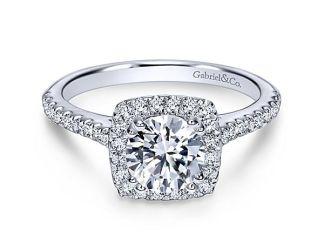 Gabriel Lyla 14k White Gold Round Halo Engagement RingER8152W44JJ 11 - 14k White Gold Round Curved Diamond