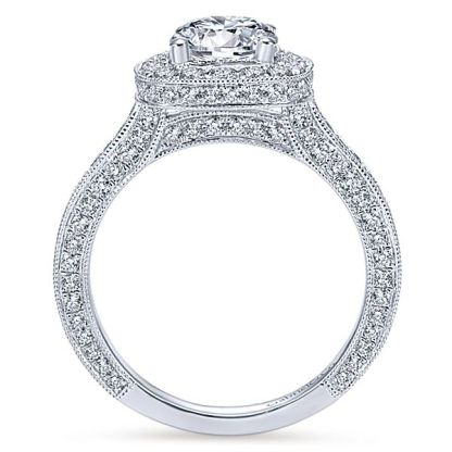 Gabriel Mariah 14k White Gold Round Halo Engagement RingER7256W44JJ 21 - Vintage 14k White Gold Round Halo Diamond