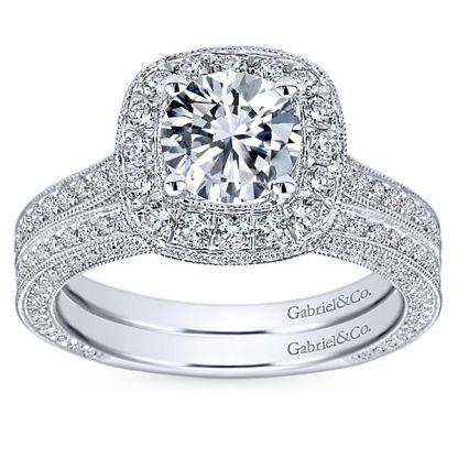 Gabriel Mariah 14k White Gold Round Halo Engagement RingER7256W44JJ 41 - Vintage 14k White Gold Round Halo Diamond