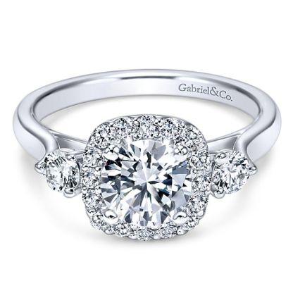 Gabriel Martine 14k White Gold Round 3 Stones Halo Engagement RingER7510W44JJ 11 - 14k White Gold Round 3 Stones Halo Diamond