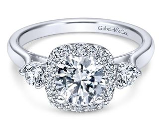 Gabriel Martine 14k White Gold Round 3 Stones Halo Engagement RingER7510W44JJ 11 - 14k White Gold Round 3 Stones Halo Diamond