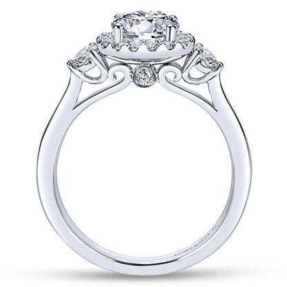 Gabriel Noelle 14k White Gold Round 3 Stones Halo Engagement RingER7482W44JJ 21 - 14k White Gold Round 3 Stones Halo Diamond