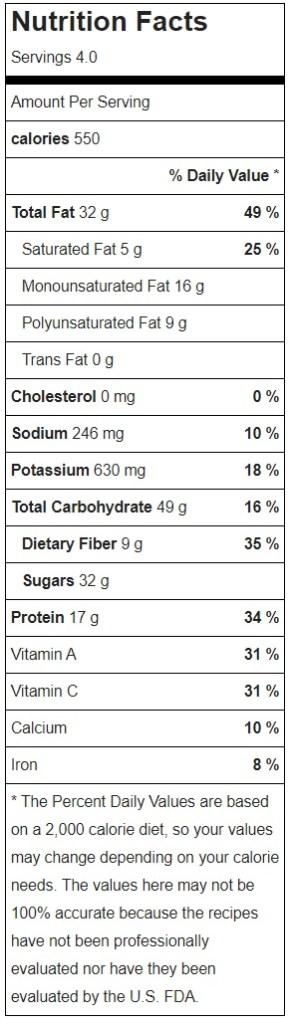 Raw Vegan Pad Thai Nutrition Facts