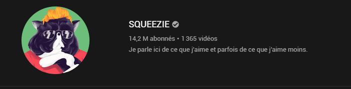 Description de la chaine Youtube de squeezie