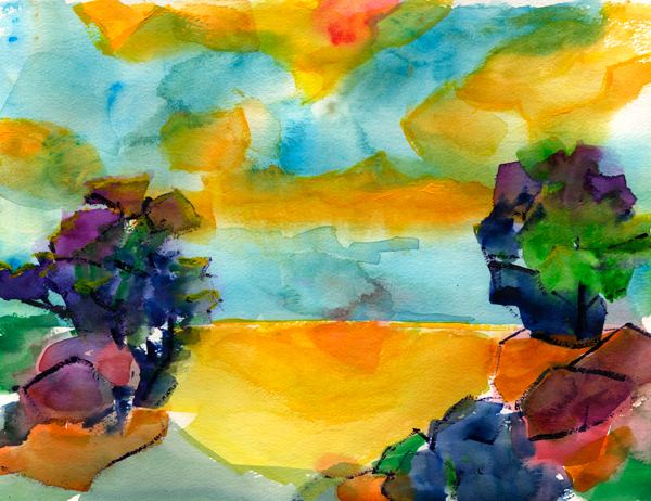 watercolor expression painting