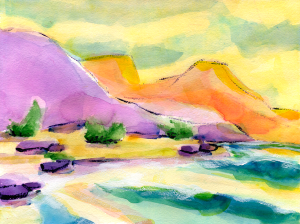 Desert Beach Watercolor Painting
