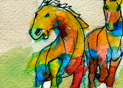 watercolor horses 2