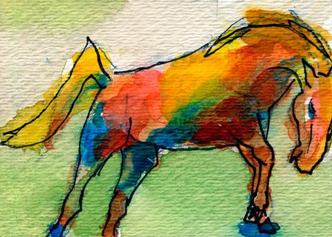 watercolor bucking horse