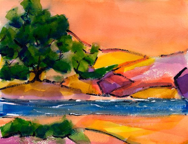 colorado river watercolor