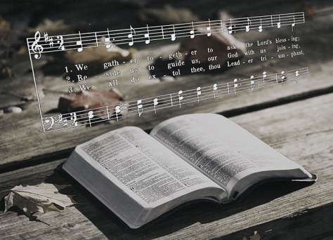 Open Bible and Hymn Tune