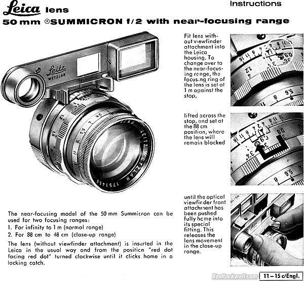 LEICA 50mm f/2 SUMMICRON with Near-Focusing Range (1956-1968)
