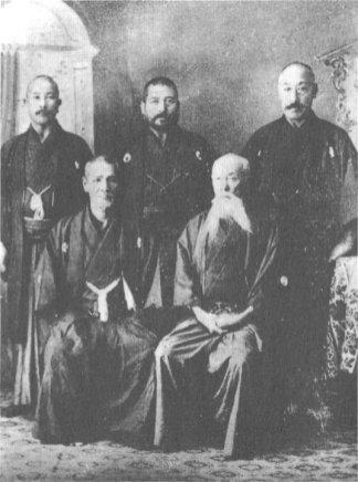 Members of the Committee responsible for the creation of the Dai Nippon Teikoku Kendo Kata/Kendo no Kata (in order from right to left): Takano Sasaburo (Ono Ha Itto Ryu/Nakanishi Ha Itto Ryu), Monna Tadashi (Hokushin Itto Ryu), Naito Takaharu (Hokushin Itto Ryu), Tsuji Shinpei (Shingyoto Ryu), and Negishi Shingoro (Shindo Munen Ryu)