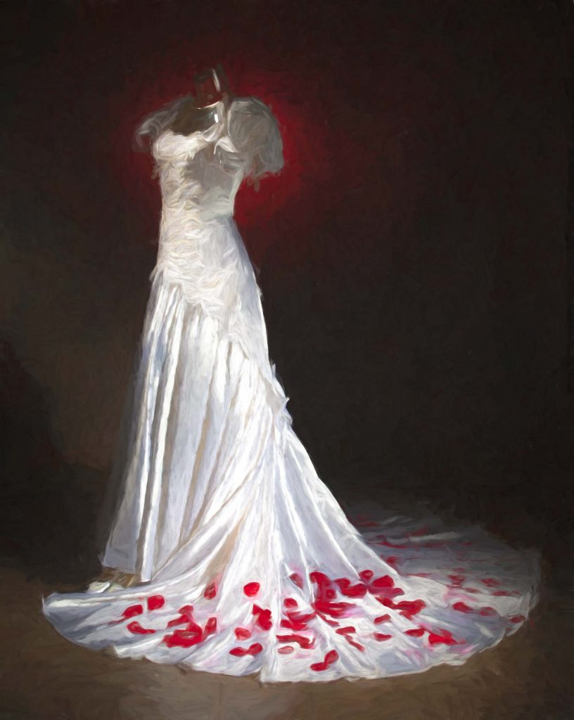 Said Yes to the Dress by Kens Portrait Photography. We recently added some new wardrobe pieces to the studio inventory. This wedding dress is one of the wardrobe items recently acquired. The studio has an inventory of clothing available for fashion portraits and creative photo sessions. The image below is the original photograph of the new studio wedding dress. The image above has been transformed into a fine art portrait image by adding a painted portrait effect.  The effect gives the image of the wedding dress a classic look.