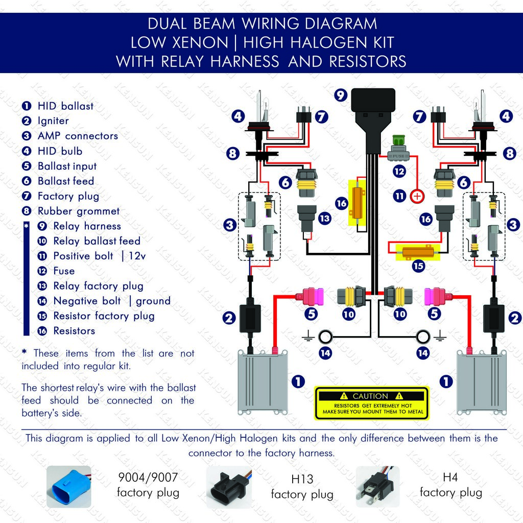 hight resolution of dual beam low xenon high halogen with relay harnest and resistors wiring diagram