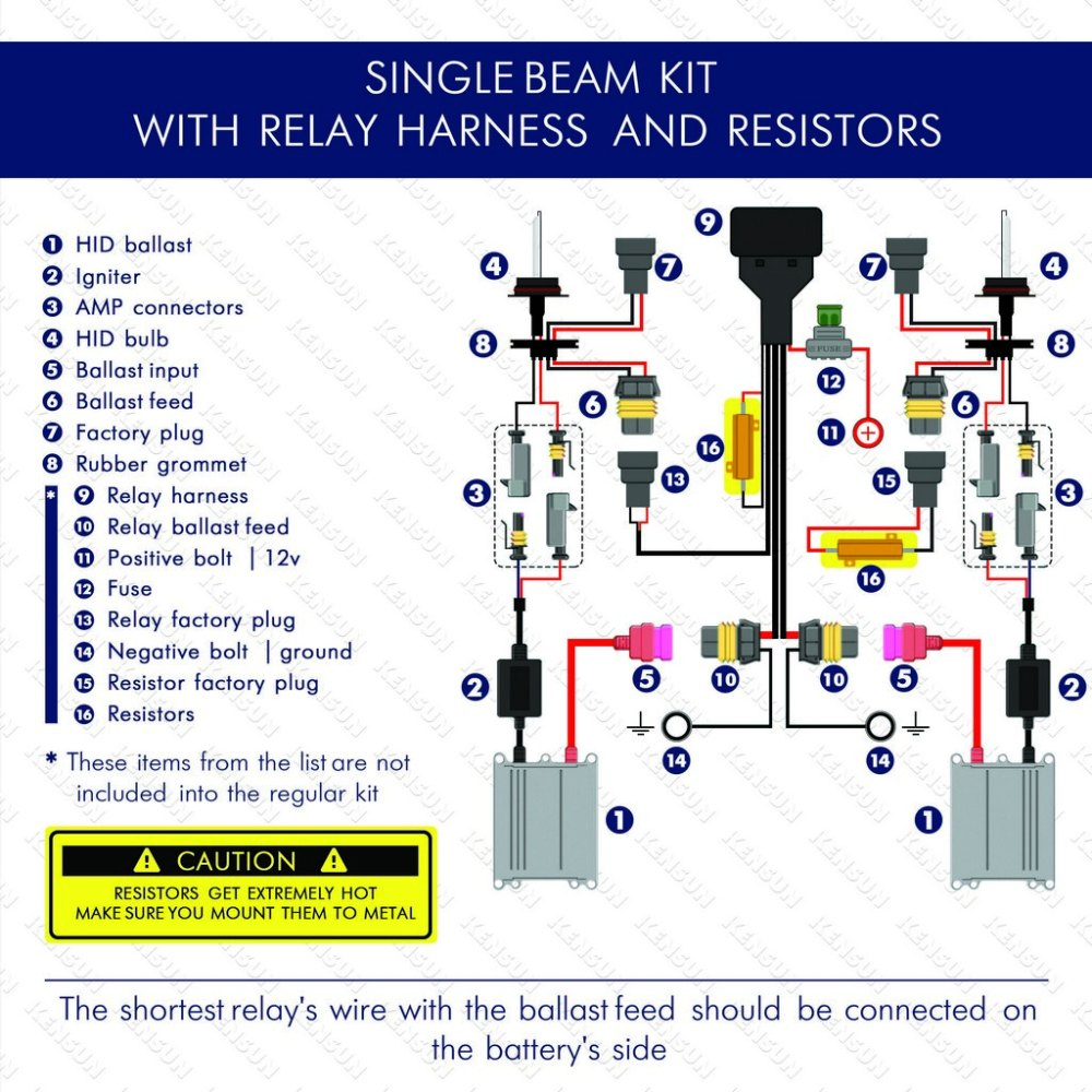 medium resolution of single beam with relay harnest and resistors wiring diagram