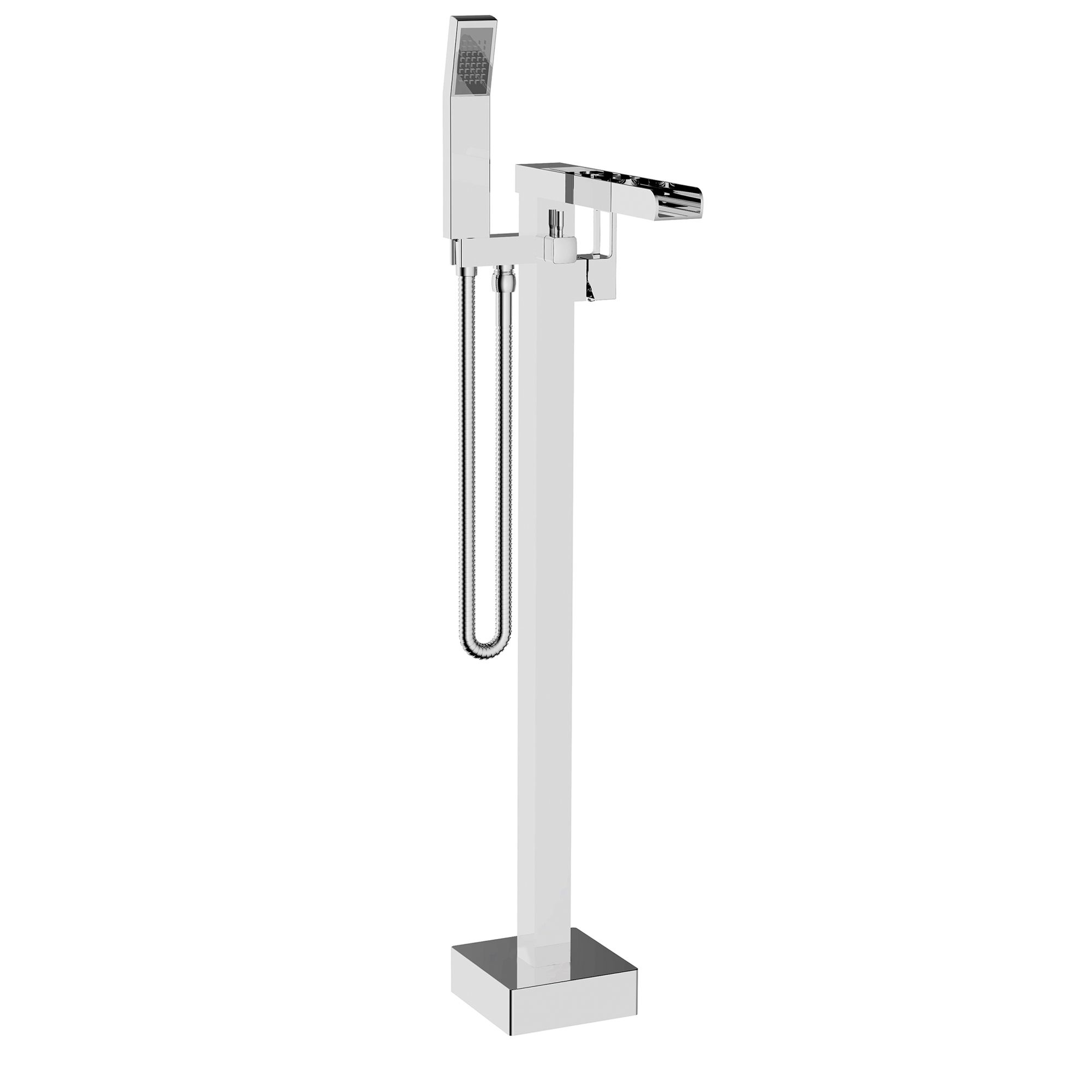 floor mounted bath filler with open mouth spout in chrome