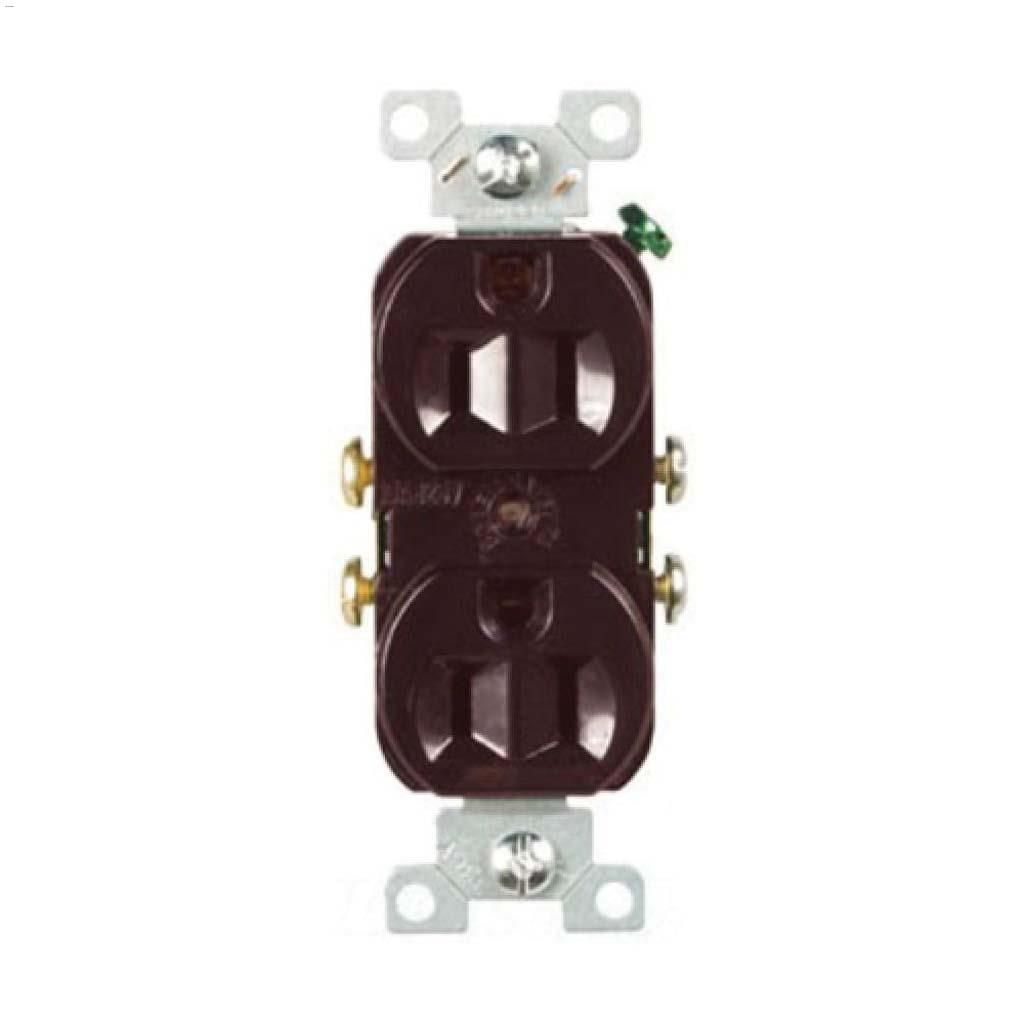 hight resolution of brown duplex receptacle 15a 2p 3w