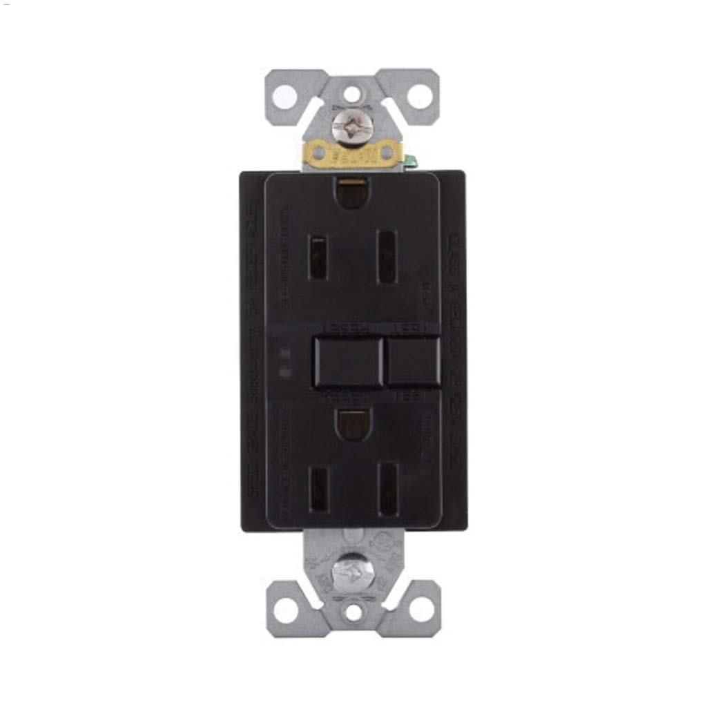 hight resolution of black gfci receptacle 15a 2p 3w