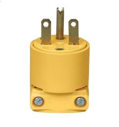 yellow heavy duty straight blade plug 15a 250v 2p 3w [ 1024 x 1024 Pixel ]