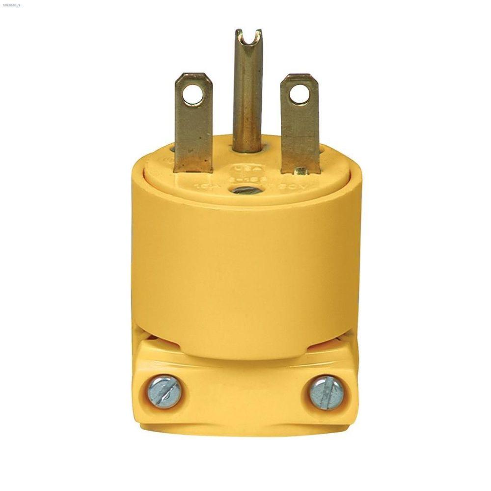 medium resolution of yellow heavy duty straight blade plug 15a 250v 2p 3w