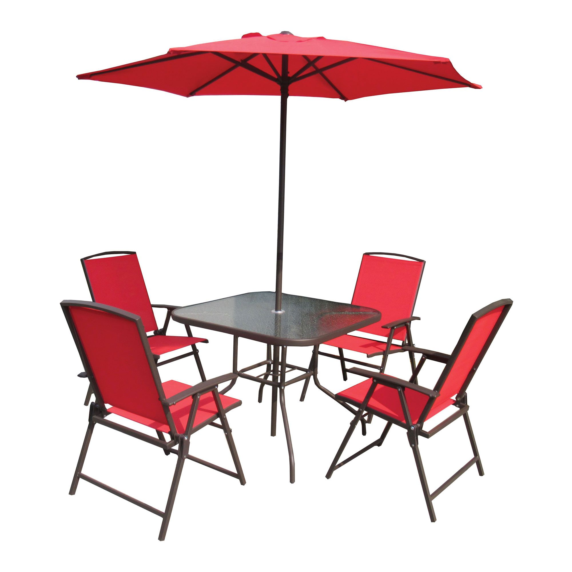 Chair With Umbrella 6 Piece Outdoor Steel Folding Chair Set With Umbrella