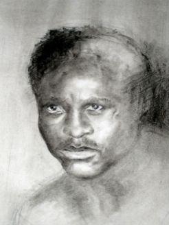 Charcoal drawing of Ezzard Charles 2003 by Homer Guerra