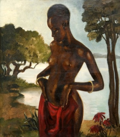 Woman with Red Dress by Paul Sortet (1905 – 1966, Belgian)